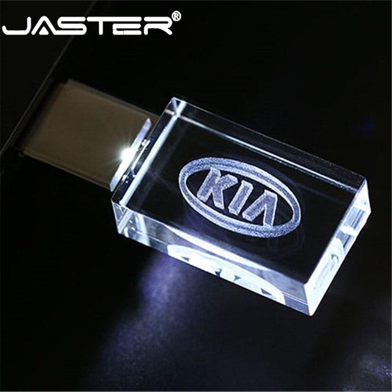 JASTER HOT KIA Crystal + Metal USB Flash Drive Pendrive 4GB 8GB 16GB 32GB 64GB 128GB External Storage Memory Stick U Disk