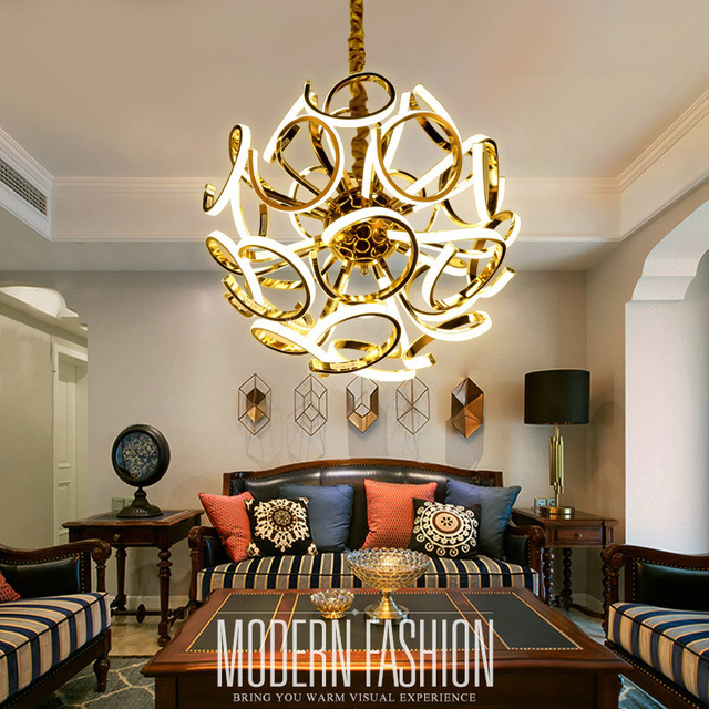 Simple Creative Post Modern Led Chandelier Lighting Art Ball Gold Chandeliers Re Living Room Restaurant Office