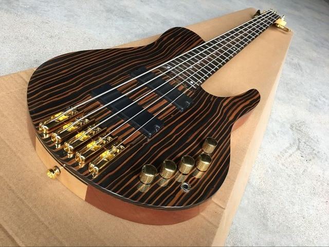 high quality Handmade 5-String  Electric Bass Guitar,One piece neck and one piece body guitar, High quality 1
