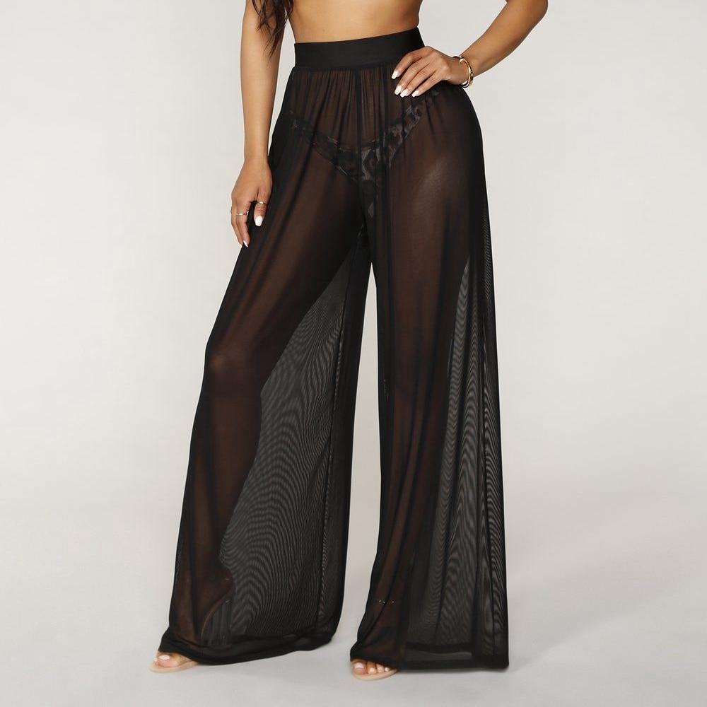 Women See Through Boho Wide Leg High Waist Trousers Beach Long Loose Mesh Sheer Pants Hot