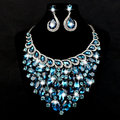 Hot Sale Women Crystal Rhinestone Bridal Jewelry Set African Wedding Jewelry Set Big Necklace Earrings Christmas Present Gift