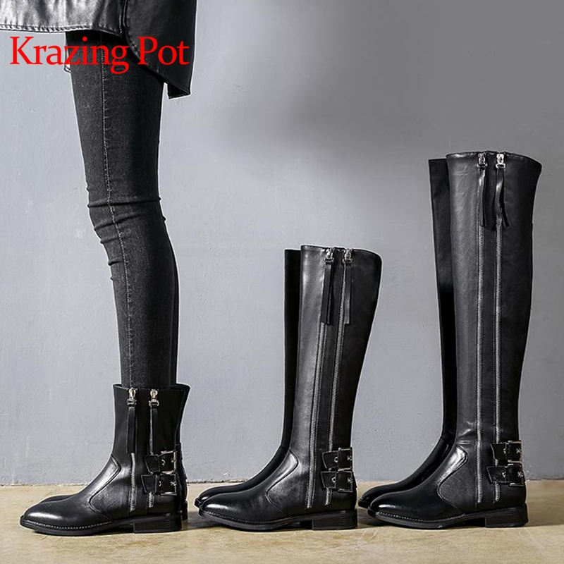 Krazing Pot genuine leather zipper buckle decoration round toe winter boots low heel European luxury handsome riding boots L15