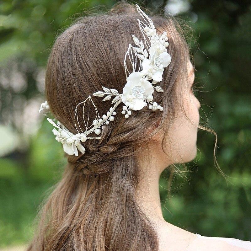 Trendy Tiara Alloy white Flower Hairband Wedding Tiaras Headband Women Headpiece Bridal Hair Accessories prom jewelry