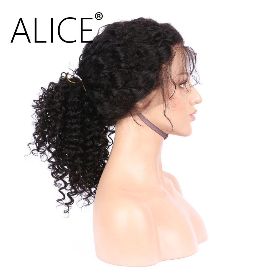 ALICE 360 Frontal Wig Bleacked Knots Brazilian Curly Human Hair Wigs  (7)