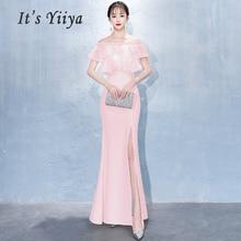 Evening Dress 2019 Plus Size Boat Neck Robe De Soiree Women Party Elegant Tiered Split Long Formal Dresses E335