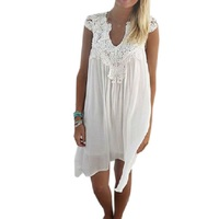 b94bee53f Sexy V Neck Sleeveless Chiffon Dress Lace Patchwork Women Summer Beach  Dress White Bohemian Plus Size