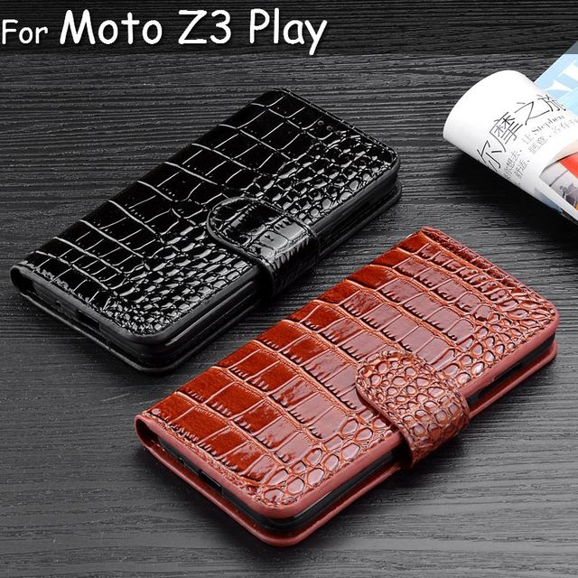 free shipping 74112 1e694 Flip Leather Wallet Phone Case for Motorola Moto Z3 Play Crocodile Design  Coque for Moto z3 Play funda capa para-in Wallet Cases from Cellphones & ...