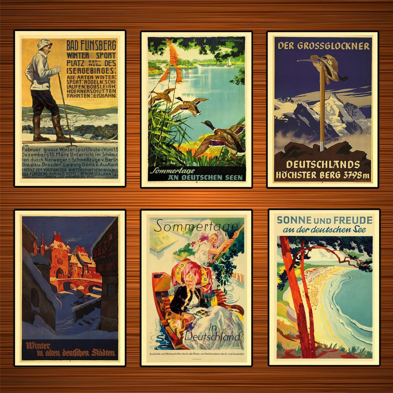 Deutschland Reise Poster Sonne und Freude Klassische Wand Aufkleber Leinwand Gemälde Dekorative Vintage Poster Home Bar Decor Geschenk