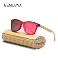 2017 BEMUCNA New Women Wood Bamboo Sunglasses Women Fashion Mirror Sunglasses Women Brand Designer HD Glasses