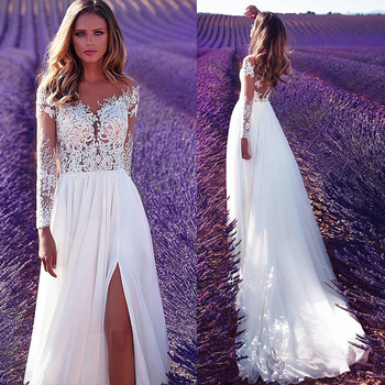 Marvelous Sheer Jewel Neckline See-through Bodice A-Line Wedding Dress With Lace Appliques Front Slit Long Sleeves Bridal Dress