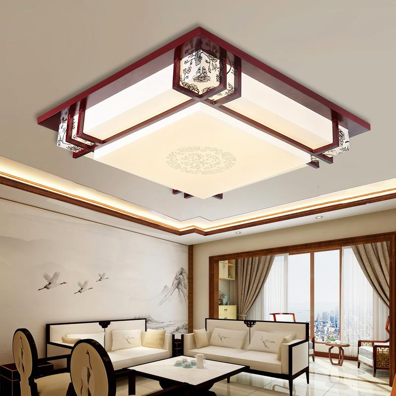 Wooden style LED ceiling lamp square living room lamp solid logs sheepskin lamp book room bedroom ceiling lights ZA ZS29|bedroom ceiling light|ceiling lights|ceiling lamp - title=