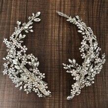 高級クリスタルブライダルヘッドピースバレッタヘアクリップつるラインストーン花の結婚式のヘアアクセサリー花嫁のヘアジュエリー2019