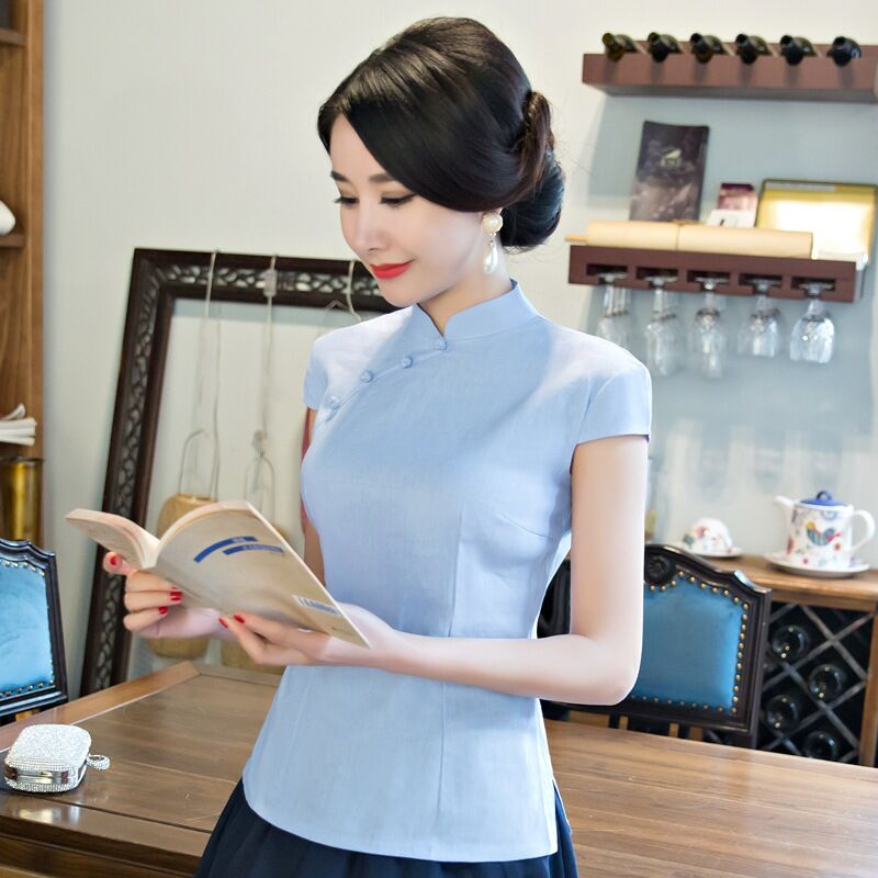 Light Blue Summer Women's Shirt Tops Chinese Style Lady Cotton Linen Blouse Handmade Button Mujer Camisa Size S M L XL XXL 103