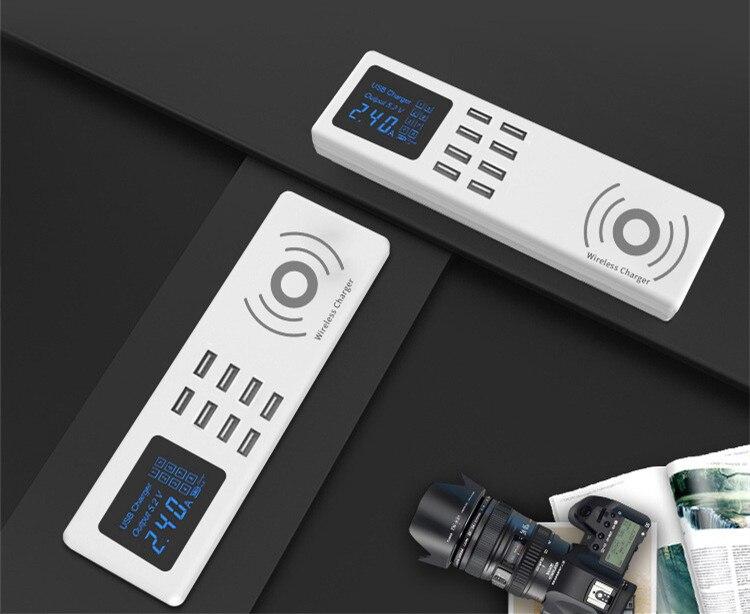 Chargeur sans fil Qi universel intelligent 8 Ports USB chargeur rapide affichage Led bloc de charge prise de courant adaptateur bande EU US UK prise