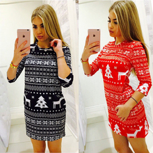 New arrived 2017 Christmas women printed dresses O-neck mid sleeve dress red & black casual dress