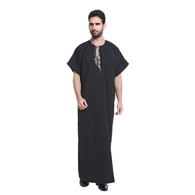 Thoub árabe Kaftan Arábia Thobe Abaya Robe Daffah Dishdasha Muçulmano Roupas Para Homens