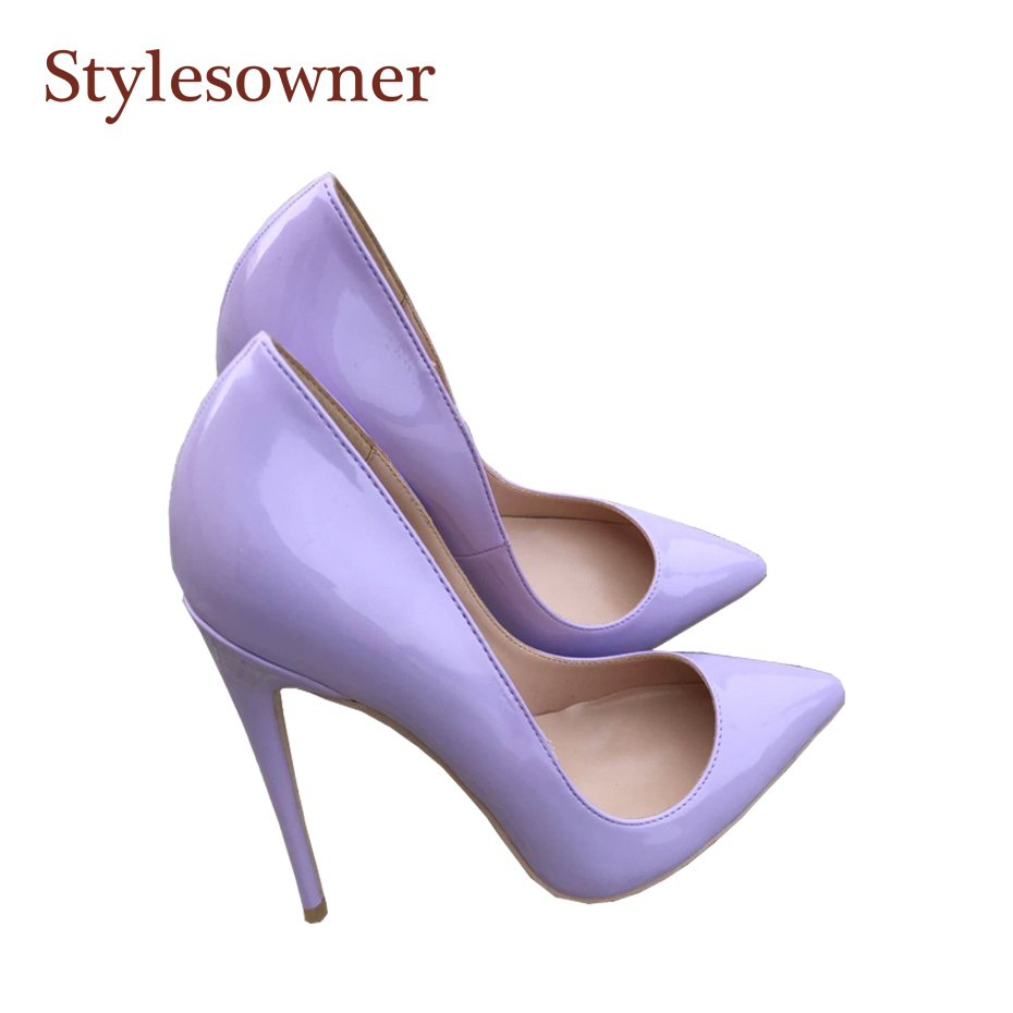 91a699abc58 Detail Feedback Questions about Stylesowner Light purple lady sexy high heel  single shoes shallow mouth thin heel stiletto PU leather party zapatos  mujer 33 ...