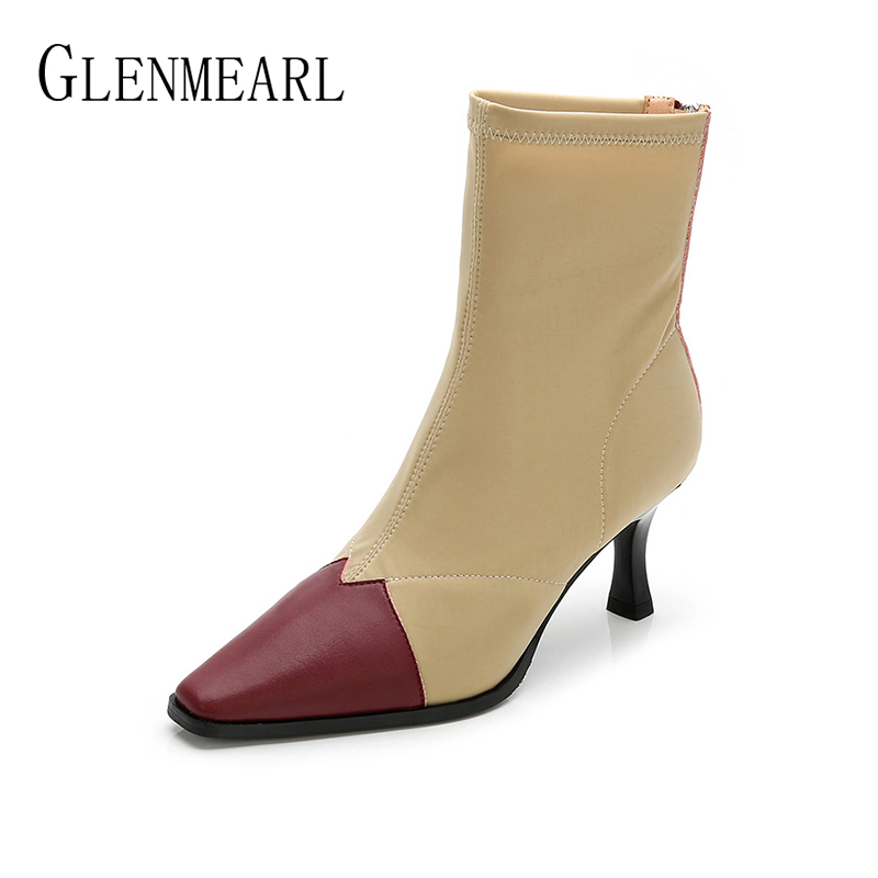 купить Women Boots High Heels Shoes Pointed Toe Martin Ankle Boots Woman Slip On Black Fashion Stretch Elastic Winter Shoes Female DE по цене 2211.28 рублей