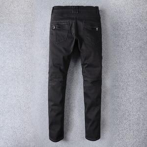 Винтажные дизайнерские модные мужские джинсы черного цвета, джинсы-карго в стиле хип-хоп, мужские уличные байкерские джинсы
