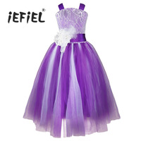 IEFiEL Hot Brand Flower Girl Dress Kids Pageant Wedding Bridesmaid Party Crossed Back Dress For Costumes