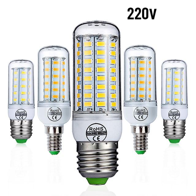 E27 Lâmpada LED E14 SMD5730 Lâmpada LED 220 V 230 V Lâmpada de Milho 24 36 48 56 69 72 LEDs de Luz LED Iluminação Lustre Para Decoração de Casa