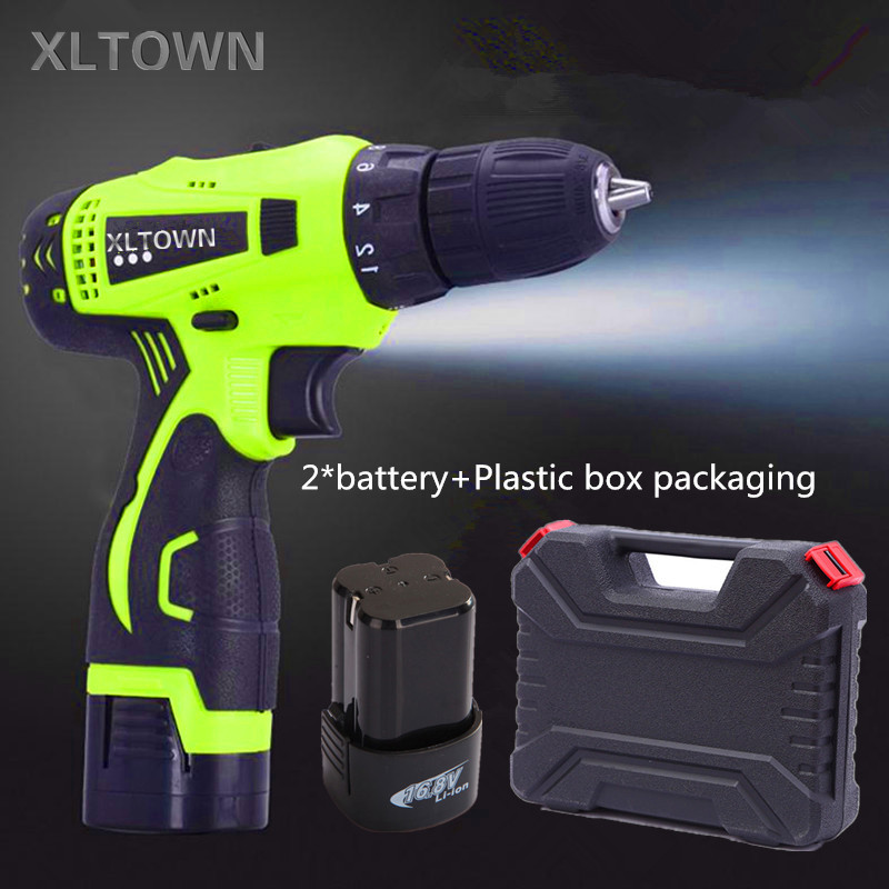 Xltown the new 16.8v two-speed rechargeable lithium battery electric screwdriver with a plastic box  and 2 battery power tool replacement rechargeable 3 7v 2000mah lithium battery pack with screwdriver for nintendo 3ds
