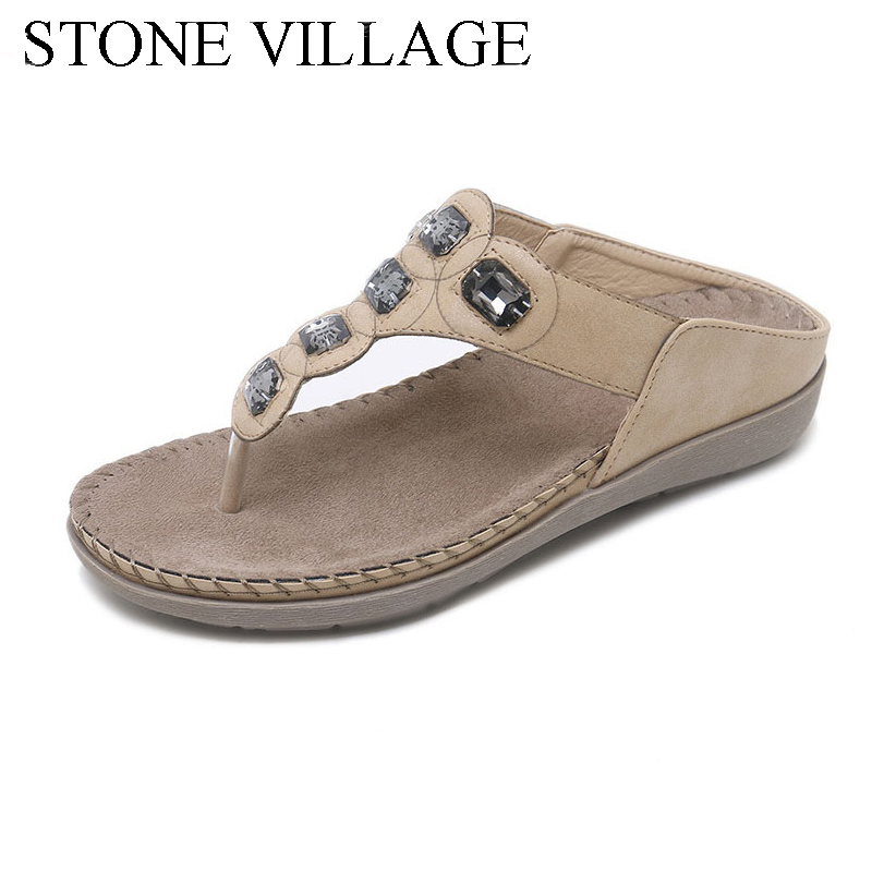 STONE VILLAGE Summer Bohemia Casual Women Flip Flops Women Flat Summer Women Shoes Outdoor Beach Slipper Women Slippers