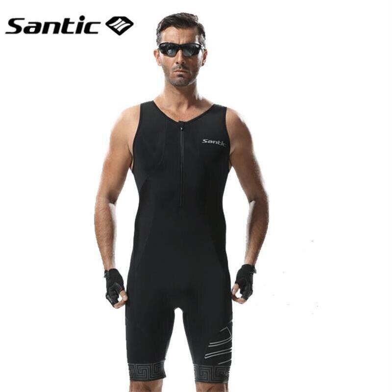 Santic Mens Triathlon Manches Séchage rapide Skinsuit-Triathlon Course Costume de Course Respirant Natation Cyclisme Peau Vêtements