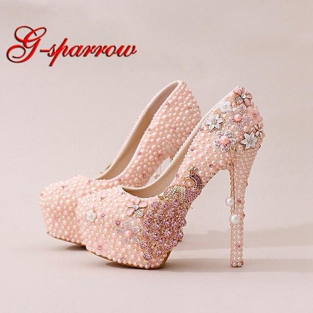 2caae2098 Pérola Phoenix Vestido de Noiva Sapatos Lindo Projeto de Strass Sapatos de  Casamento Partido Prom Sapatos