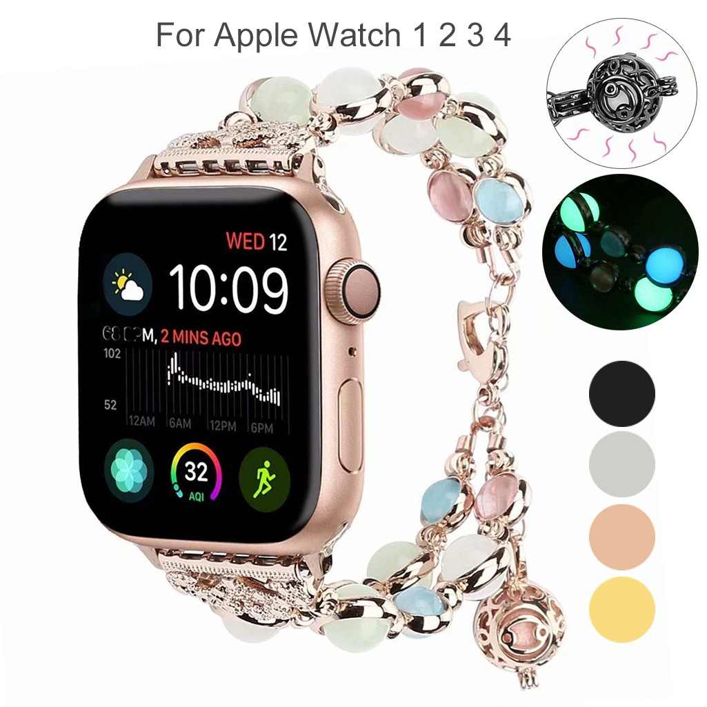 Essidi Luminous Pearl Beads Bracelet Strap For Apple Watch 4 3 2 1 38/40mm 42/44mm Metal Watch Band Loop For Apple Watch Women