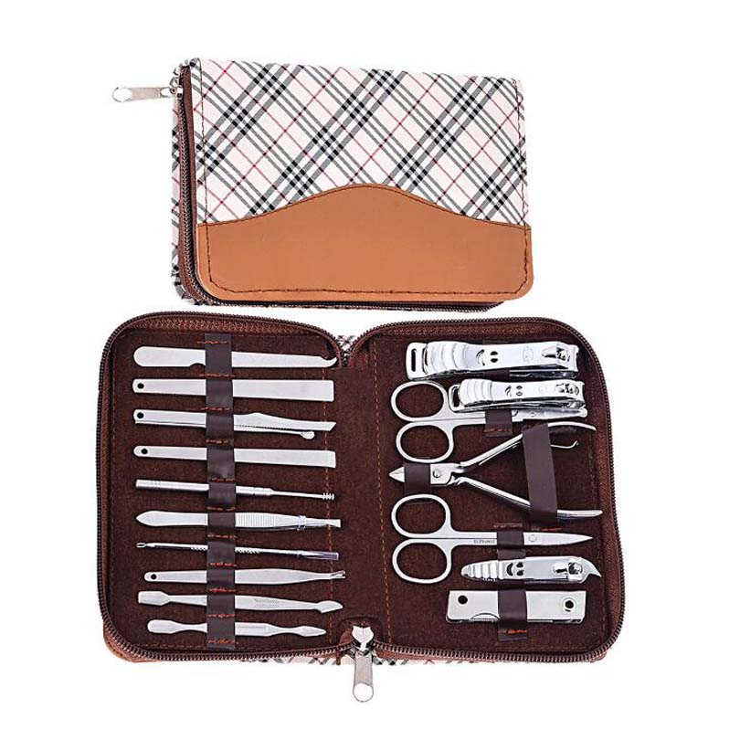 18pc Nail Manicure Set Nails Care Tools with Tweezer Clipper Eyebrow Scissor Acne needle File 3pcs stainless steel 360 degree rotatable nail clipper nail manicure file set nail clipper file tweezer pu leather case