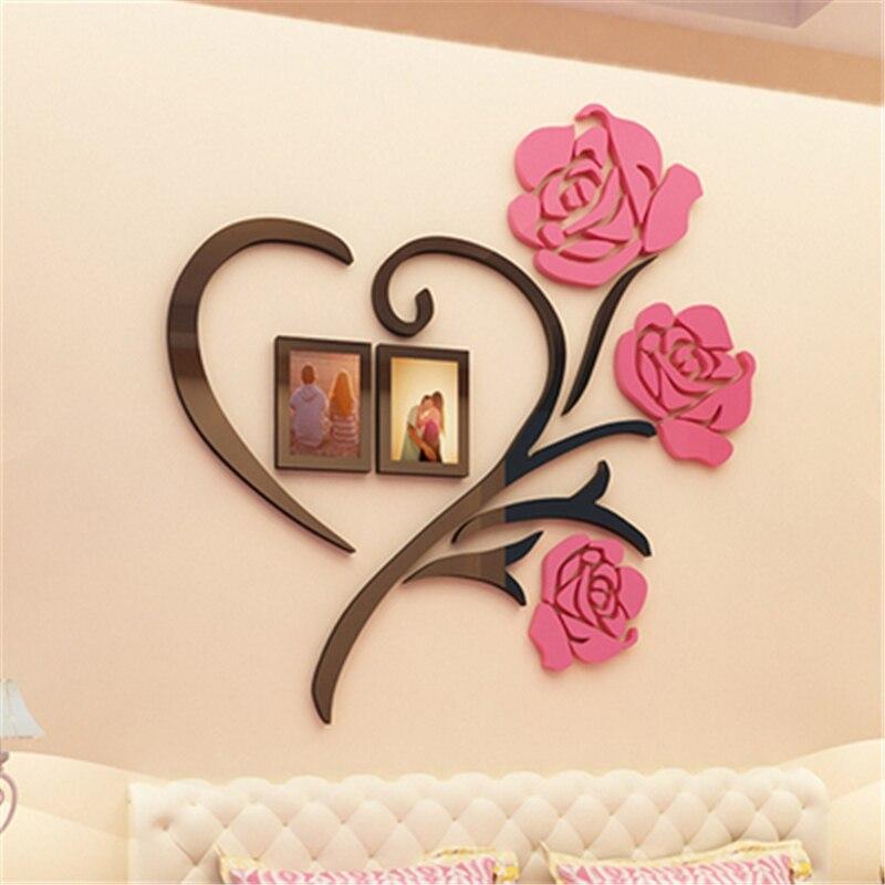 22 88 Amour Coeur Fleurs Cadre Peinture 3d Cristal Acrylique Pas Cher Stickers Muraux Chambre Tentures Murales Autocollant Mural Décor De Mariage