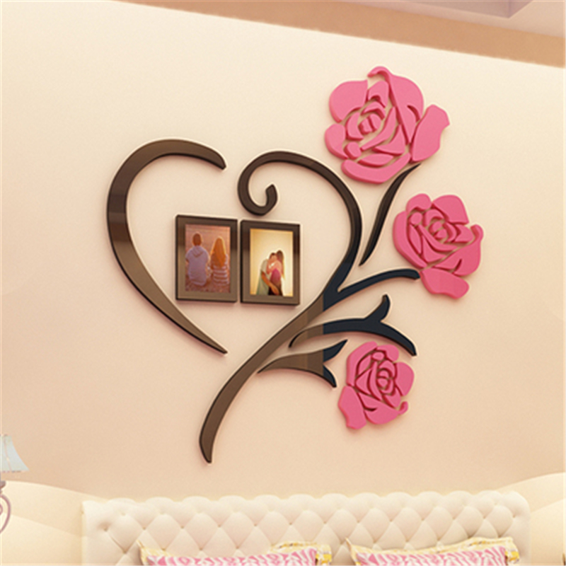 Love heart flowers frame painting 3d crystal acrylic cheap for Cadre floral mural