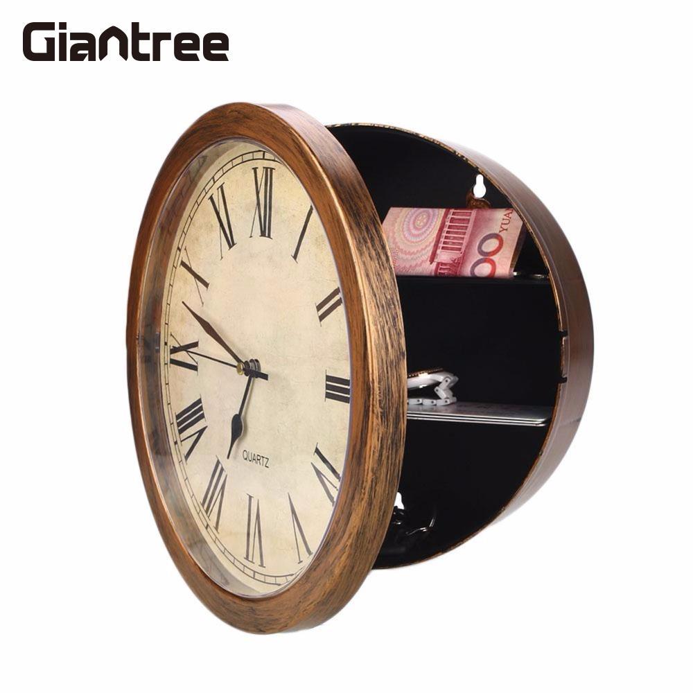 Giantree oro secreto Reloj de pared segura joyas cosas de pared colgando clave dinero contenedor de almacenamiento caja de seguridad seguro
