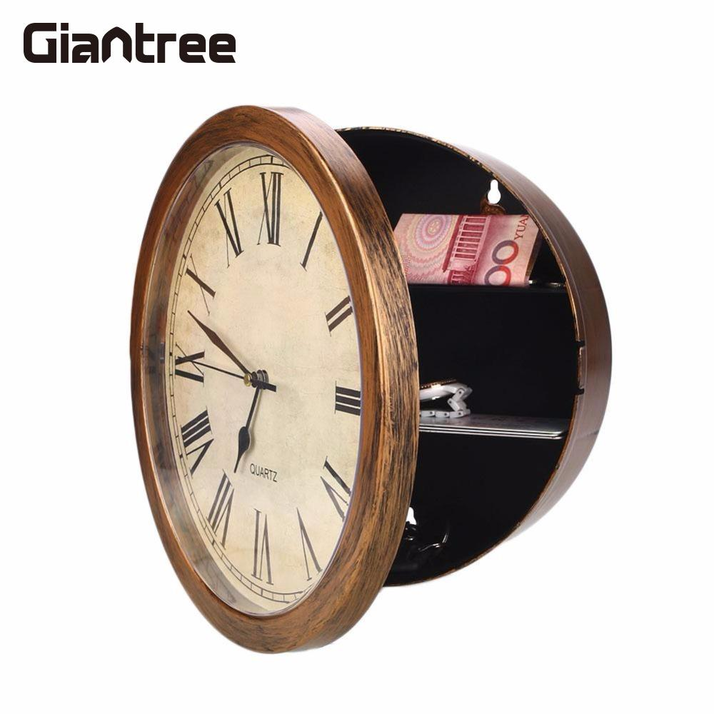 Giantree Golden Secret Wall Clock Safe Jewellery Stuff Wall-Mounted Hanging Key Money Storage Container Safe Box Insurance Cache