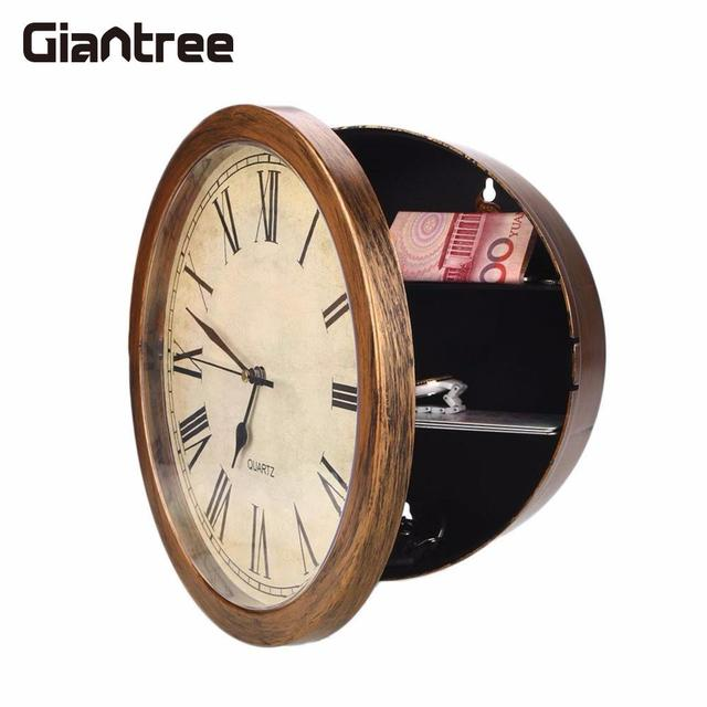 giantree Golden Secret Wall Clock Safe Jewellery Stuff Wall Mounted