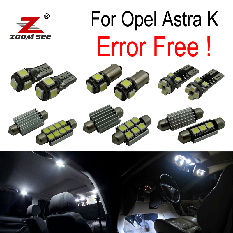 13pcs Error Free For Vauxhall Accessories For Opel Astra K OPC GTC LED Interior Dome Map Lights Bulb Kit (2015+)
