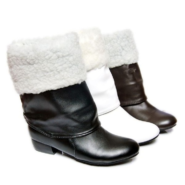 Autumn and winter women boots High-leg motorcycle snow boots Black White Brown 3 color shoes wholesale Free shipping