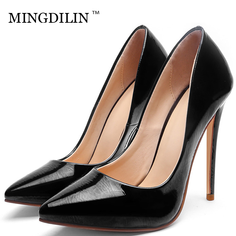 MINGDILIN Stiletto Women's Pumps High Heels Shoes Wedding Party Woman Shoes Green Black Plus Size 33 43 Pointed Toe Sexy Pumps mingdilin sexy women s heel shoes high heels shoes woman pumps plus size 33 43 pointed toe ping red wedding party pumps stiletto
