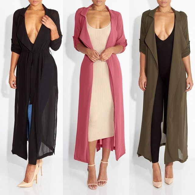 Autumn New Fashion Women Clothes Chiffon Long Sleeve Solid Outwear Lady Casual Evening Party Oversized Long CardiganTops