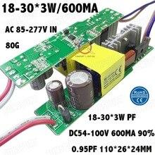 PFC élevé Disolement 60 W AC85 277V LED Conducteur 18 30x3W 600mA DC54 100V LED à courant constant Alimentation Projecteur Livraison Gratuite