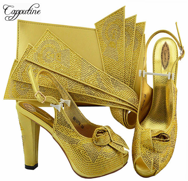 New Design Elegant Rhinestone Shoes And Bag Set African Fashion Woman Pumps Shoes And Bag Set For Party Free Shipping M1076 cd158 1 free shipping hot sale fashion design shoes and matching bag with glitter item in black