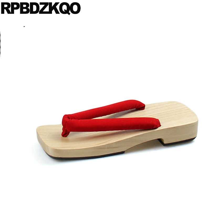 2ee10e449712a Nice Red Flat Geta Slippers Sandals Slip On Water Outdoor Platform Men  Japanese Clogs Slides Shoes