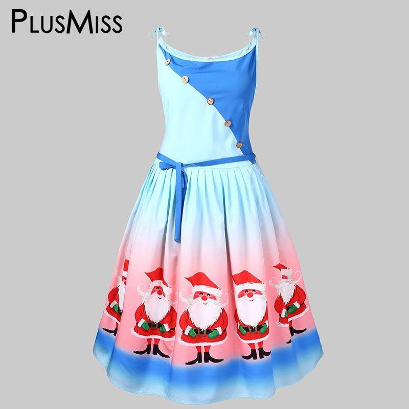 PlusMiss Plus Size 5XL L Santa Claus Printed Merry Christmas Party Dresses Women Sexy Spaghetti ...