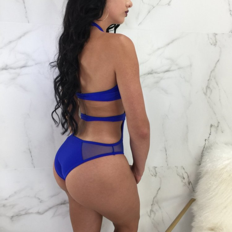 Halter Swimwear Women Mesh One Piece Swimsuit 2018 Sexy Bandage Monokini Mesh Patchwork Hollow Out Backless Bodysuit BathingSuit in Body Suits from Sports Entertainment
