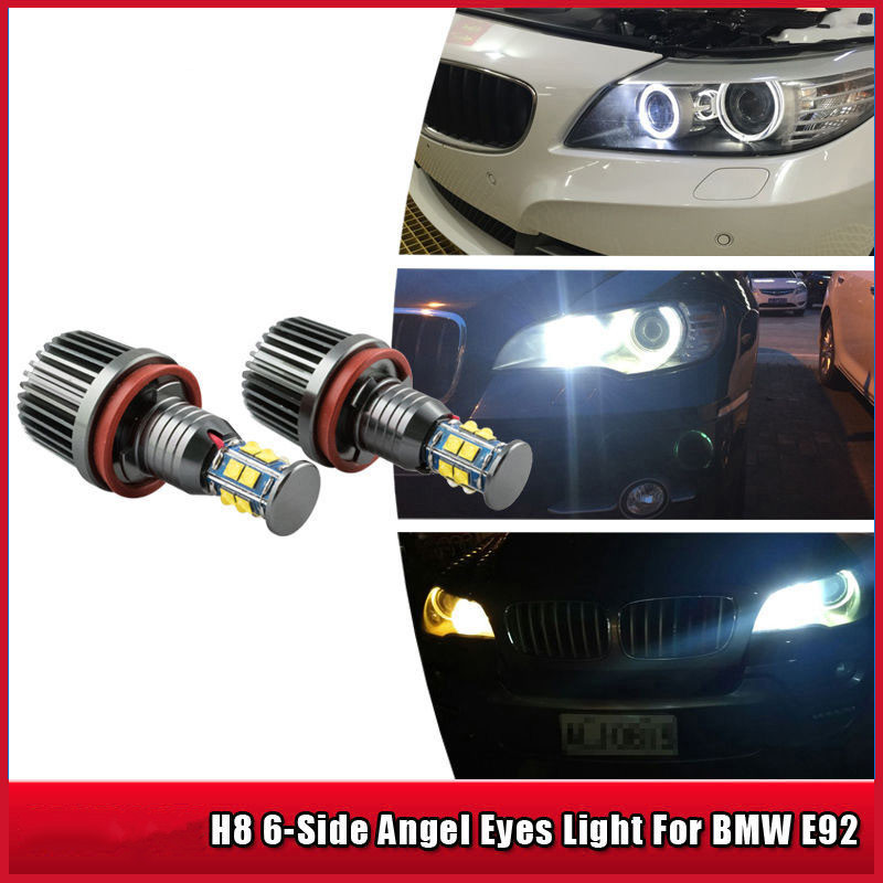 Mayitr 2PCS/Set 2*120W 240W H8 Angel Eyes Marker LED Chips Light Bulb 8000LM White Lamp for BMW 1 3 5 Series E82 Coupe E90 E92 2pcs lot 24 smd car led license plate light lamp error free canbus function white 6000k for bmw e39 e60 e61 e70 e82 e90 e92