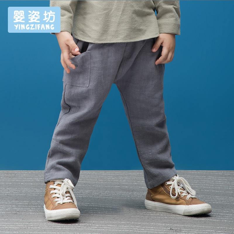 Sale Yingzifang trousers Boys' Autumn Casual Solid Colour Long Length Soft Straight Elastic Waist Cotton Linen children's Pants boys elastic waist solid pants