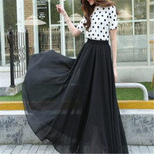 Black skirt 2017 female chiffon bust  full high waist a-line skirt medium-long spring and autumn gauze skirt