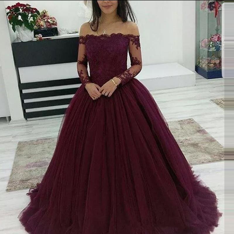 2019 Elegantes Burgundy Long Sleeve   Prom     Dress   Ball Gown Court Train Custom Made vestidos de fiesta de noche largos