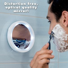 Makeup Mirror Shaving mirror glass Vacuum suction cup LED light make-up magnifying glass amplification 5 times bathroom mirror